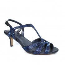 Lunar FLR524 Francie Wide Fit Gemstone Heeled Sandals - Navy