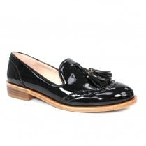 Lunar FLC185 Sanchez Black Patent Tassel Loafers - Black