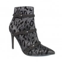 Lunar GLR527 Glam Black Animal Print Heeled Fashion Ankle Boots
