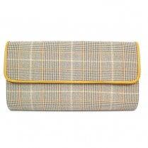 Lunar Womens Samia Clutch Handbag - Beige/Yellow Tartan