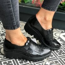Wonders Black Leather Wedge Loafer Shoes