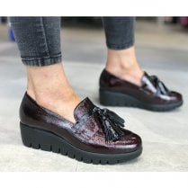 Wonders Wedge Heel Loafer Shoes - Burgundy