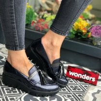 Wonders Wedge Heel Loafer Shoes - Navy/Black