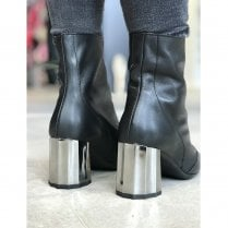 Wonders Black/Silver High Heel Ankle Boots