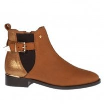 Amy Huberman Penelope Tan Suede Flat Ankle Boots