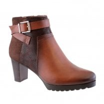 Susst Darby-9 Dark Tan Block Heel Plain Front Ankle Boots