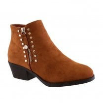 Susst Dallas-9 Tan Low Heel Zip & Stud Ankle Boots