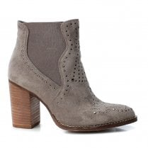 Xti Womens Block Heeled Suede Ankle Boots - Grey