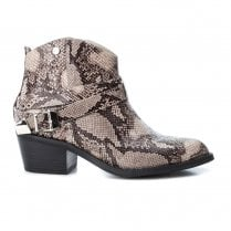 Xti Womens Block Heel Decorative Buckles Snakeskin Cowboy Boots - Grey