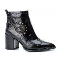 Xti Womens Block Heeled Decorative Studs Pointed Ankle Boots - Black Patent