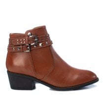 Xti Womens Block Heel Decorative Studs Buckles Ankle Boots - Camel Tan