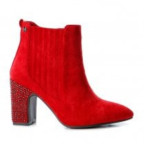 Xti Womens Stud Block Heel Elasticated Side Panel Ankle Boots - Red