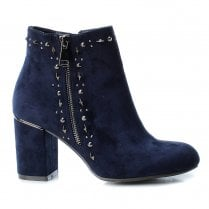 Xti Womens Block Heel Suede Decorative Studs Ankle Boots - Navy