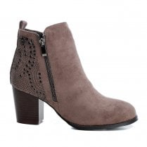Xti Womens Block Heel Decorative Studs Ankle Boots - Taupe