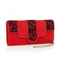 Ruby Shoo Canberra Red Suede Art Deco Clutch Bag