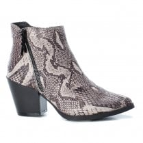 Refresh Womens Block Heeled Snake Pattern Ankle Boots - Grey