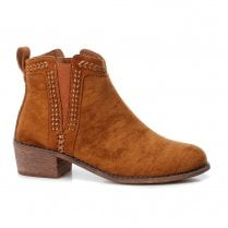 Refresh Womens Low Block Heeled Slip On Suede Ankle Boots - Tan