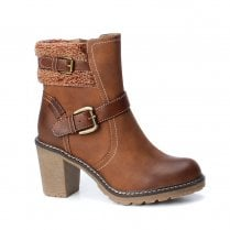 Refresh Womens High Heeled Block Ankle Boots - Camel Tan