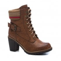Refresh Womens High Heeled Block Ankle Boots - Camel Brown