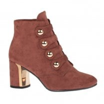 Una Healy Holiday Block Heeled Suede Boots - Mauve
