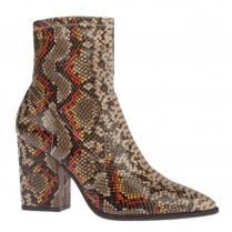 Una Healy Reflections High Heeled Block Snake Ankle Boots - Brown