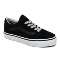 Vans Kids Glitter Suede Sidestripe Old Skool Trainers Shoes - Black