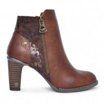 Mustang Womens High Heel Ankle Boots - Chestnut