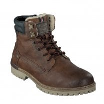 Mustang Mens Casual Lace Up Ankle Boots - Chestnut