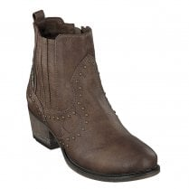 Mustang Low Block Heeled Cowboy Style Ankle Boots - Medium Brown