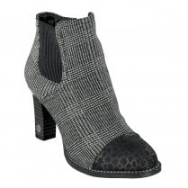 Mustang Block Heeled Textile Upper Ankle Boots - Black/Grey