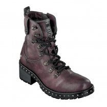 Mustang Womens Flat Lace Up Ankle Boots - Burgundy