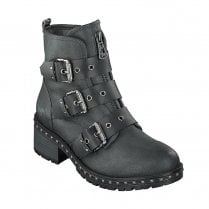 Mustang Womens Mid Block Heel Ankle Boots - Grey