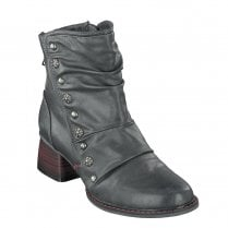 Mustang Womens Mid Block Heel Ankle Boots - Graphite