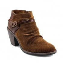 Blowfish Womens Lama Brown Suede Ankle Boots