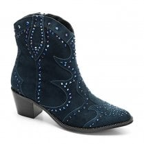 Moda In Pelle Chera Navy Suede Cowboy Style Boots