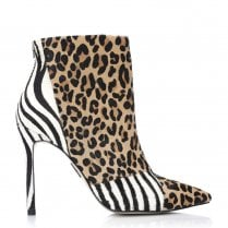Moda In Pelle Zazzie Multi Animal Calf Hair High Heeled Ankle Boots