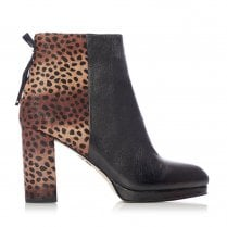 Moda In Pelle Kaliser Black Leather Brown Suede Leopard High Heel Ankle Boots