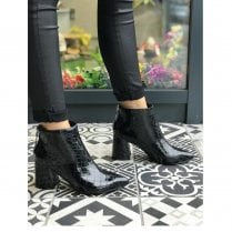 Millie & Co Becky Black Patent Croc Print Tapered Block Heel Ankle Boots