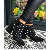 Millie & Co Brooklyn Tapered Block Heel Black Suede Stud Upper Ankle Boots