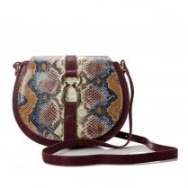 Moda In Pelle Loonabag Burgundy Mono Snake Leather Shoulder Bag