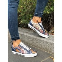 Moda In Pelle Fioni Navy Multi Snake Leather Womens Trainers