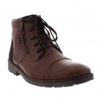 Rieker Mens Dark Brown Leather Zip Lace Up Ankle Boots