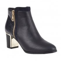 Lotus Womens Black Greeve Snake-Print Shiny Ankle Boots