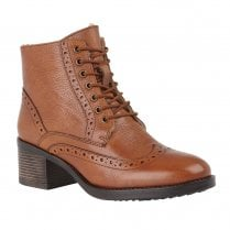 Lotus Womens Tan Amira Leather Lace-Up Heeled Ankle Boots