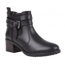 Lotus Womens Black Janet Leather Flat Ankle Boots