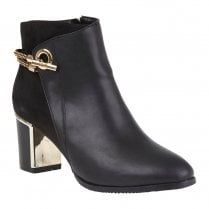 Lotus Womens Black Honey Heeled Ankle Boots