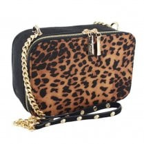 Menbur Sorrivoli Brown Leopard Suede Clutch Bag