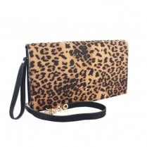 Menbur Womens Sopralacroce Brown Leopard Clutch Bag