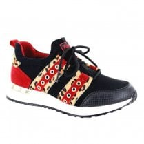 Menbur Womens Sparta Red Leopard Wedge Sneakers Shoes