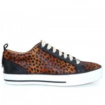 Moda In Pelle Fioni Black Leopard Leather/Calf Hair Womens Trainers